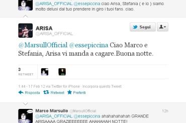 Arisa e il VAFFANCULO su Twitter