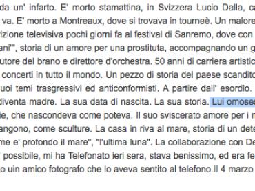 """Il Tg de La7 su Lucio Dalla: """"omosessuale che non nascondeva di esserlo"""""""