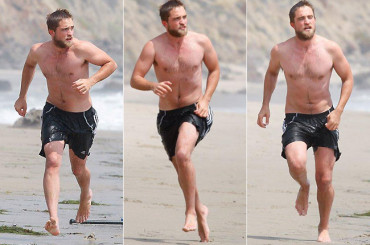 Barba e costume da bagno per Robert Pattinson