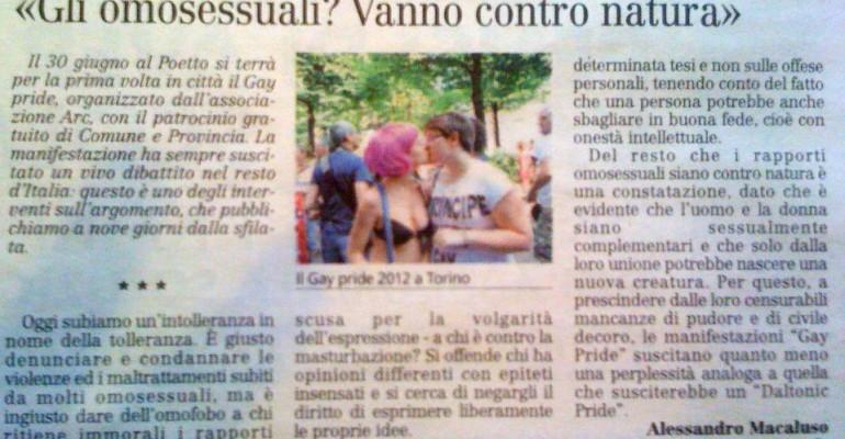 Cagliari Pride 2012: l'omosessualità è CONTRO NATURA – parla un professore di filosofia