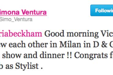 Simona Ventura e la twittata PORACCIA della settimana (a Victoria Beckham)