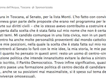 Alessio De Giorgi di Gay.it si candida con Mario Monti, Fini e Casini al Senato