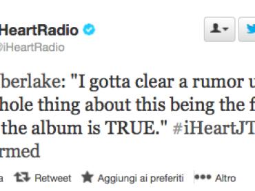 Justin Timberlake conferma: dopo The 20/20 Experience arriva un SECONDO album