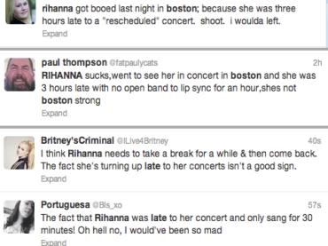 Rihanna fischiata a Boston: si presenta sul palco con 3 ore di ritardo