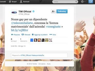 Telecom Italia a sorpresa: concessa la 'licenza matrimoniale' per delle nozze gay