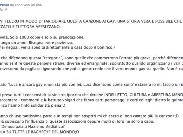 Povia torna a difendere Luca era Gay: colpa delle associazioni glbtq se i gay l'hanno odiata