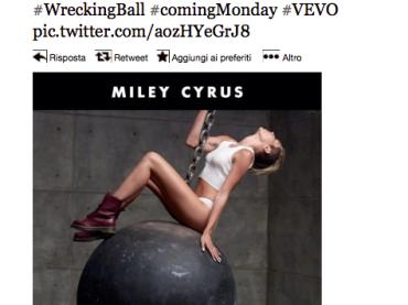 Wrecking Ball di Miley Cyrus:  lunedì il video