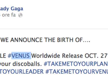 VENUS  secondo singolo di ARTPOP – uscirà il 27 ottobre