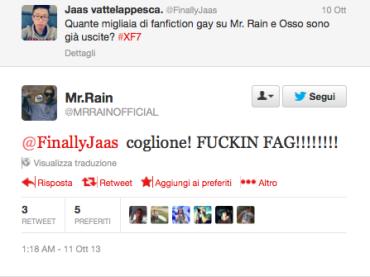 X-Factor Italia: Mr.Rain  omofobo su Twitter