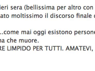 Laura Pausini contro l'omofobia su Facebook