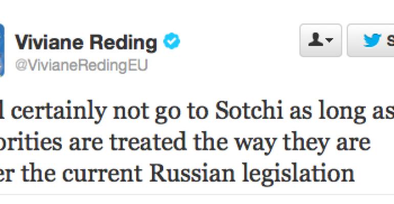 Sochi 2014 – il commissario europeo alla Giustizia Viviane Reding boicotta