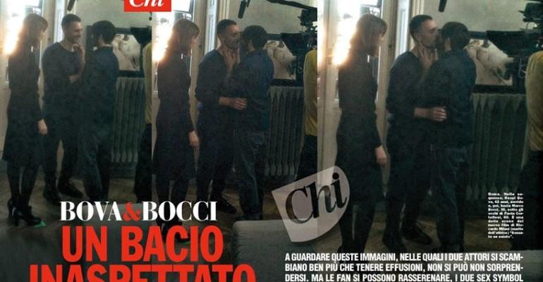 Scusate se esisto: Raoul Bova e Marco Bocci  si baciano sul set