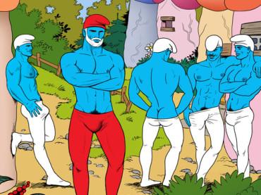 I Puffi gay palestrati versione Tom of Finland