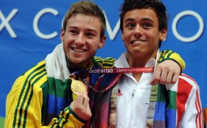 Tom daley of England (R) and Matthew Mit