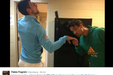 Fabio Fognini e Novak Djokovic un po' fru fru su Twitter