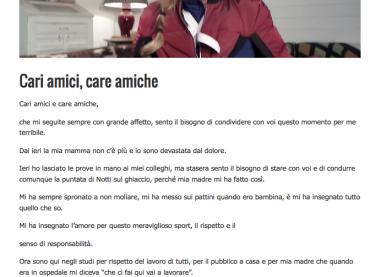 Nessuno come Milly Carlucci: le muore la mamma ma va in onda (e in diretta) con Notti sul Ghiaccio