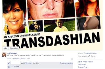 Transparent, la creatrice Jill Soloway 'sfotte' Bruce Jenner per poi chiedere scusa
