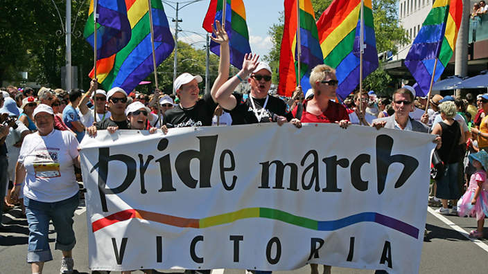 MELBOURNE, AUSTRALIA - FEBRUARY 07: Participants march down Fitzroy Street during the 15th annual Gay Pride march through the streets of Melbourne on February 7, 2010 in Melbourne, Australia. The annual event recognises Victoria's gay, lesbian, bisexual, intersex and transgender communities. (Photo by Scott Barbour/Getty Images)