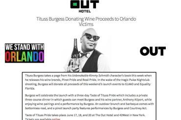 Orlando, Tituss Burgess dona tutti i proventi del suo vino alle famiglie delle vittime
