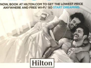 Hilton Hotel, due uomini a letto insieme nel nuovo annuncio – scoppia la polemica