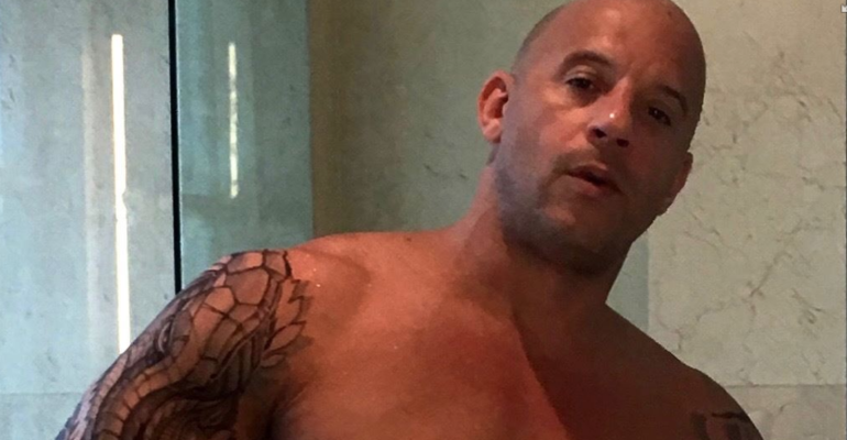 Vin Diesel  versione toro dopo la doccia su Instagram – foto