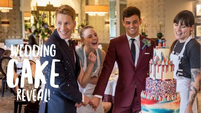 tom daley wedding cake reveal