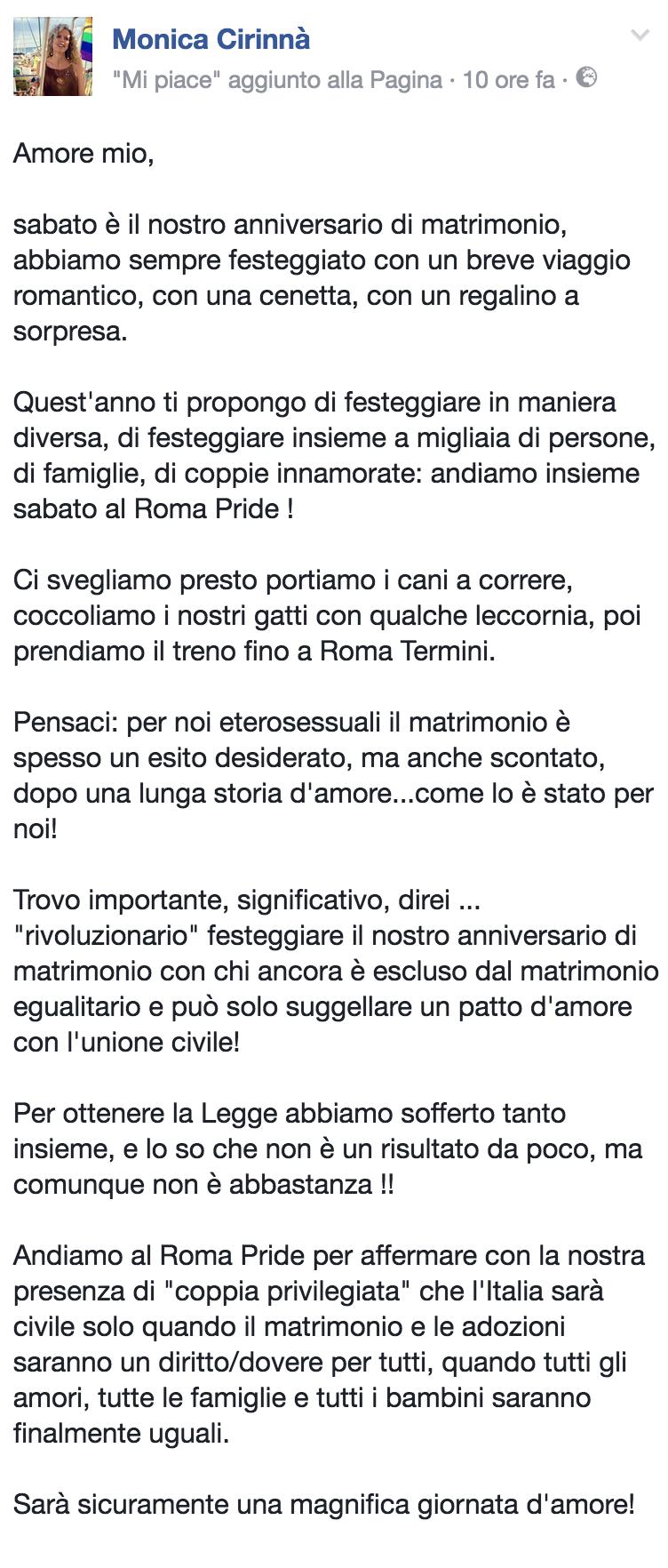 Anniversario Di Matrimonio Lettera.Monica Cirinna Anniversario Di Nozze Al Roma Pride Per Chiedere