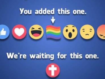 Facebook, pagina cristiana chiede l'emoji/reaction a forma di CROCE dopo l'introduzione della bandiera rainbow