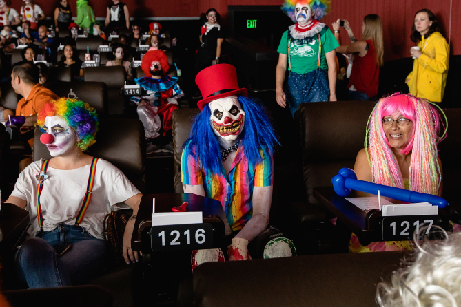 Clowns-only screening of IT at The Alamo Drafthouse Cinema in Austin, Texas. / Photo by www.hlkfotos.com