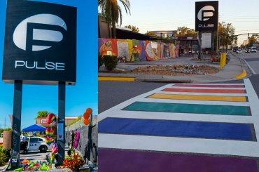 Orlando, strisce pedonali arcobaleno davanti al PULSE – foto