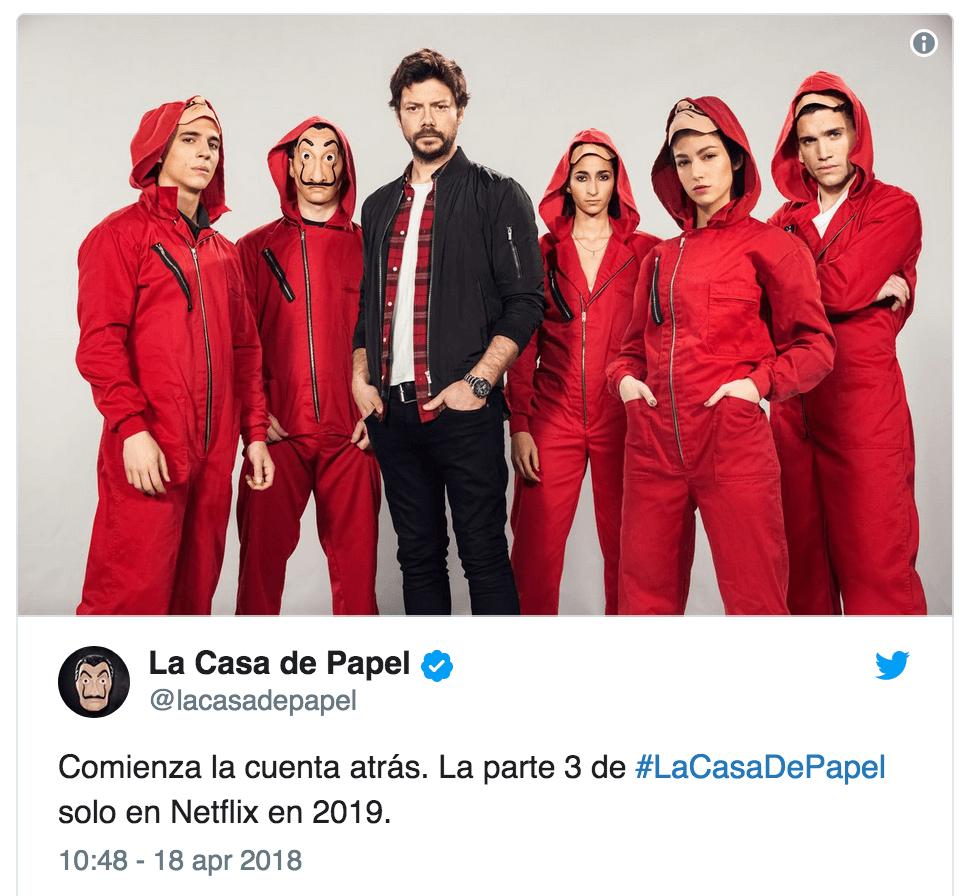 La casa di carta in arrivo nel 2019 la terza stagione for La casa di carta il genio dello streaming