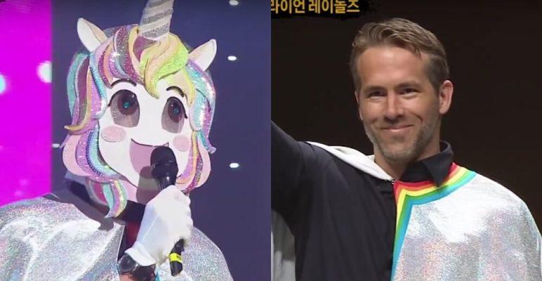 Ryan Reynolds mascherato da unicorno rainbow in uno show coreano – video