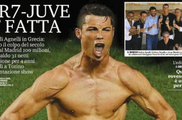 Cristiano Ronaldo alla Juventus, le prime pagine dei giornali (italiani e stranieri)