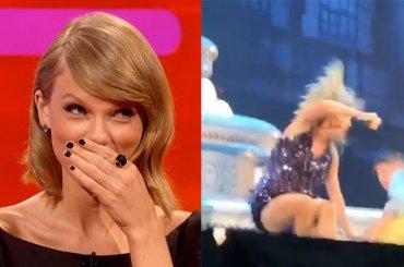 Taylor Swift, un ballerino le dà un calcio e la fa cadere: la sua reazione – video