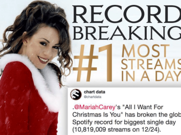 Mariah Carey, storico record SPOTIFY con All I Want For Christmas Is You