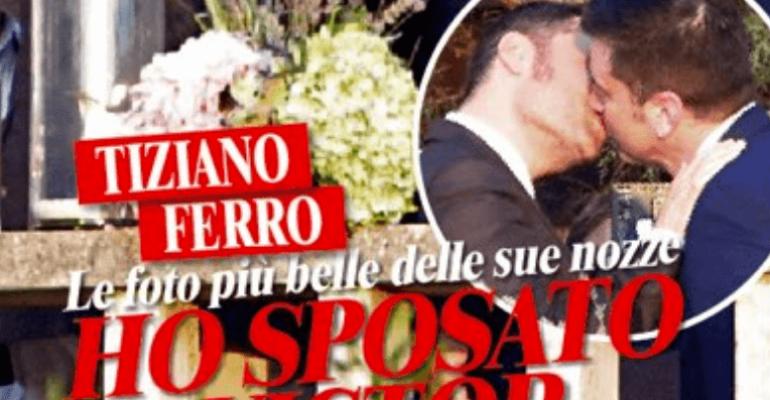 Tiziano Ferro bacia Victor Allen, le foto dal matrimonio su CHI