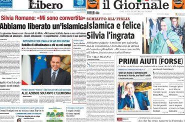 Silvia Romano libera, le folli prime pagine dei giornali di destra