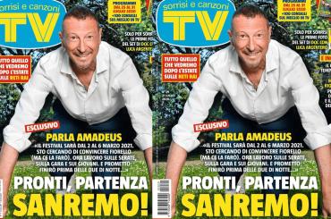 """Sanremo 2021, ecco la prima cover di Tv Sorrisi e Canzoni con Amadeus: """"Prometto, finirò prima delle 2 di notte"""""""