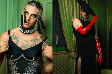 Achille Lauro con bustino diamantato e calze a rete per il lancio di Maleducata, le foto social