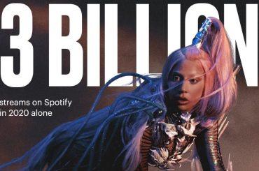 Lady Gaga boom, 3 miliardi di stream Spotify nel 2020