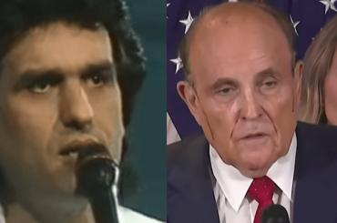Rudy Giuliani come Toto Cutugno all'Eurovision 1990: cola la tinta – video