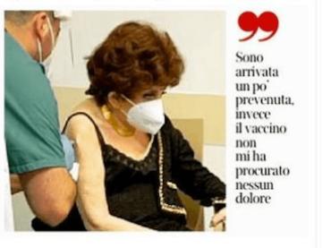 """Gina Lollobrigida vaccinata contro il Covid: """"Io voglio vivere, non abbiate paura"""""""