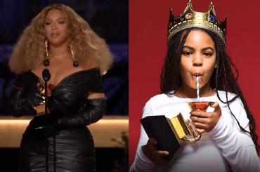 Beyoncé celebra il suo record e il trionfo della figlia Blue Ivy, che beve dal Grammy vinto – video