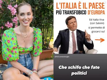 """Chiara Ferragni  attacca: """"Che schifo i politici"""". E Renzi le chiede un contraddittorio, """"se hai coraggio"""""""
