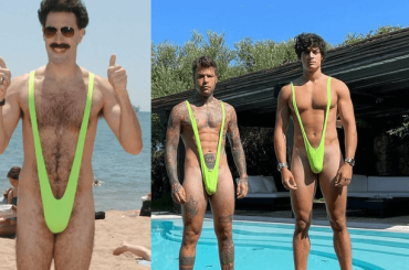Fedez e Luis Sal con il costume di Borat, le foto social